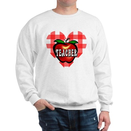 Teacher Checkered Heart Apple Sweatshirt