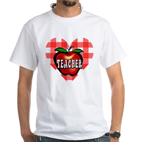 Teacher Checkered Heart Apple White T-Shirt