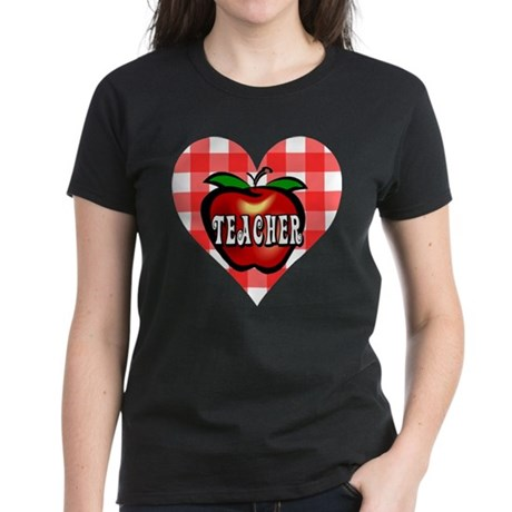 Teacher Checkered Heart Apple Women's Dark T-Shirt