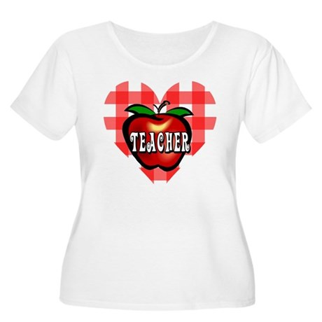 Teacher Checkered Heart Apple Women's Plus Size Sc
