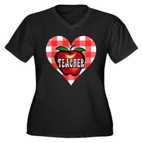 Teacher Checkered Heart Apple Women's Plus Size V-