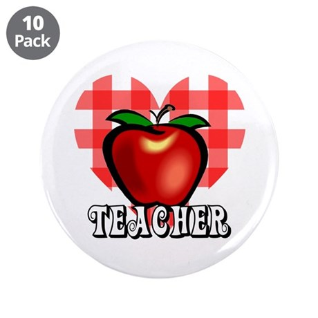 "Teacher Checkered Heart Apple 3.5"" Button (10 pack"