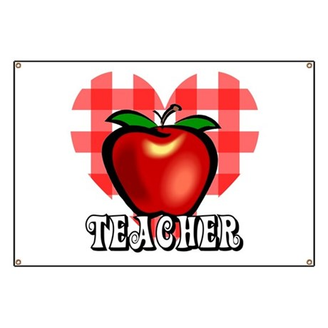 Teacher Checkered Heart Apple Banner