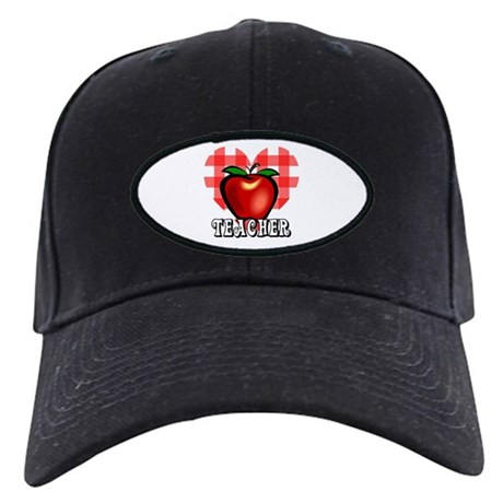Teacher Checkered Heart Apple Black Cap