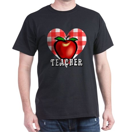Teacher Checkered Heart Apple Dark T-Shirt