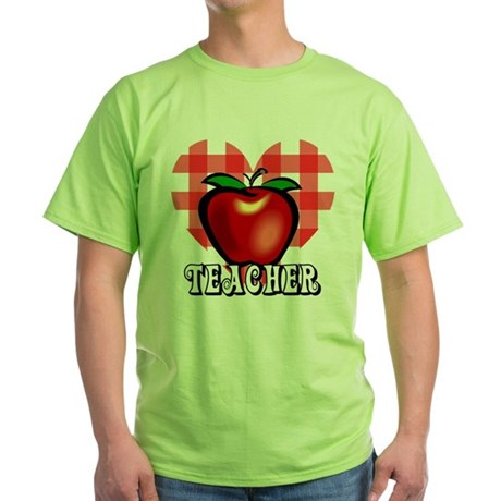 Teacher Checkered Heart Apple Green T-Shirt