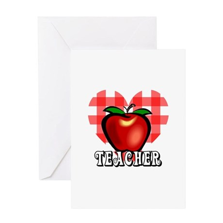Teacher Checkered Heart Apple Greeting Card