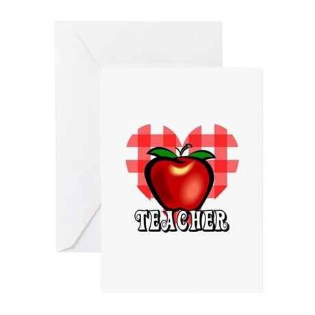 Teacher Checkered Heart Apple Greeting Cards (Pk o
