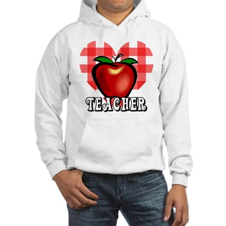 Teacher Checkered Heart Apple Hooded Sweatshirt