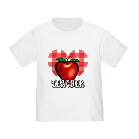 Teacher Checkered Heart Apple Toddler T-Shi