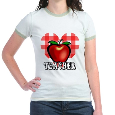 Teacher Checkered Heart Apple Jr. Ringer T-Shirt