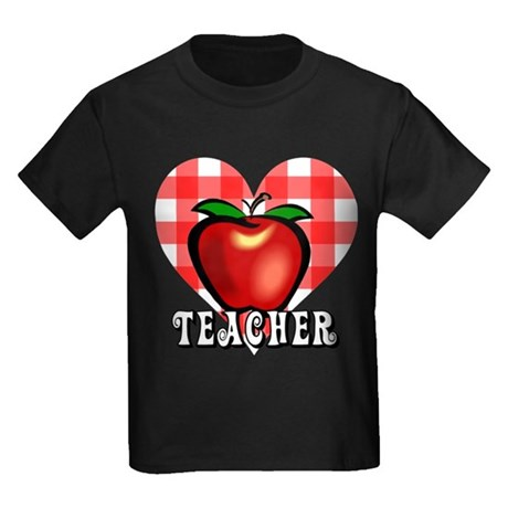 Teacher Checkered Heart Apple Kids Dark T-Shirt