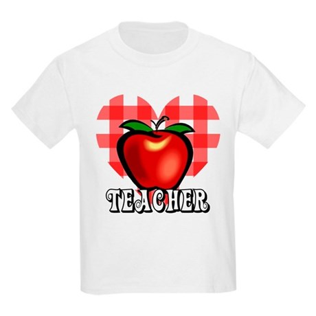 Teacher Checkered Heart Apple Kids Light T-Shirt