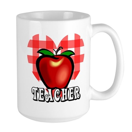 Teacher Checkered Heart Apple Large Mug