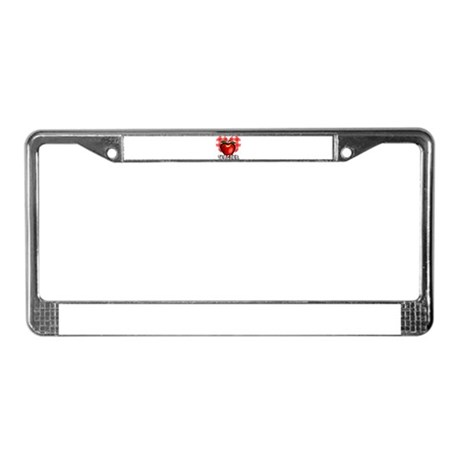 Teacher Checkered Heart Apple License Plate Frame