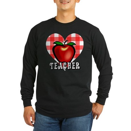 Teacher Checkered Heart Apple Long Sleeve Dark T-S