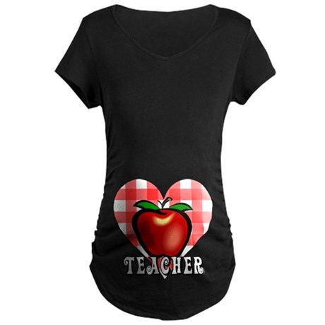 Teacher Checkered Heart Apple Maternity Dark T-Shi
