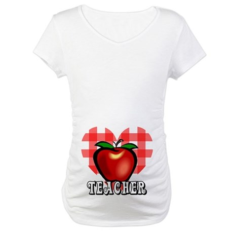 Teacher Checkered Heart Apple Maternity T-Shirt