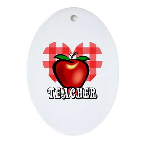 Teacher Checkered Heart Apple Oval Ornament