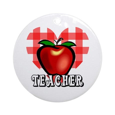 Teacher Checkered Heart Apple Ornament (Round)