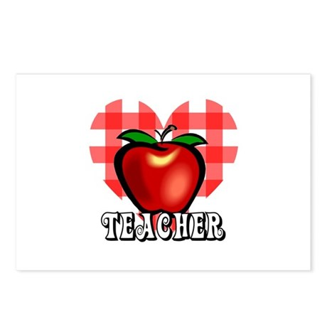 Teacher Checkered Heart Apple Postcards (Package o