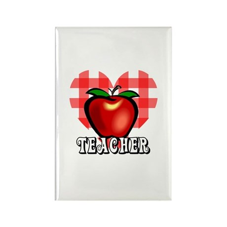 Teacher Checkered Heart Apple Rectangle Magnet