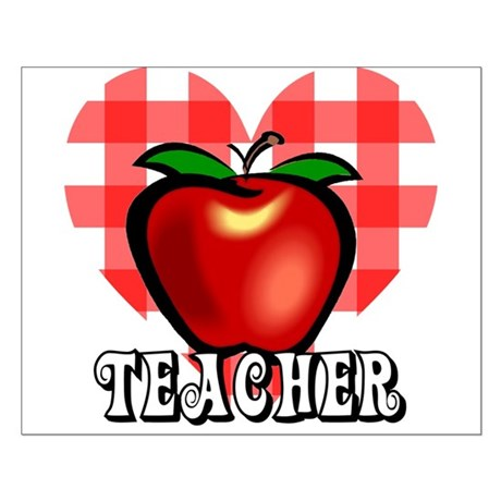 Teacher Checkered Heart Apple Small Poster