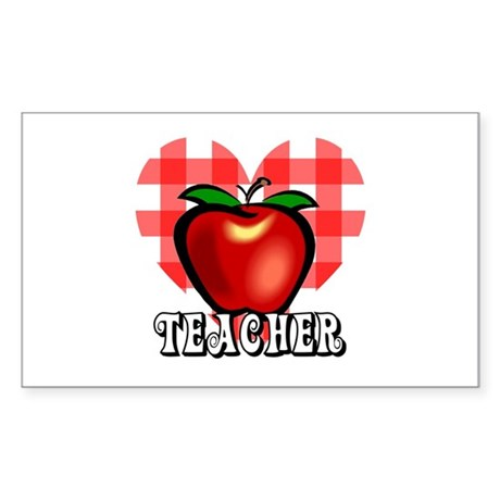 Teacher Checkered Heart Apple Rectangle Sticker 1