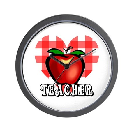Teacher Checkered Heart Apple Wall Clock