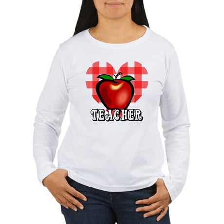 Teacher Checkered Heart Apple Women's Long Sleeve