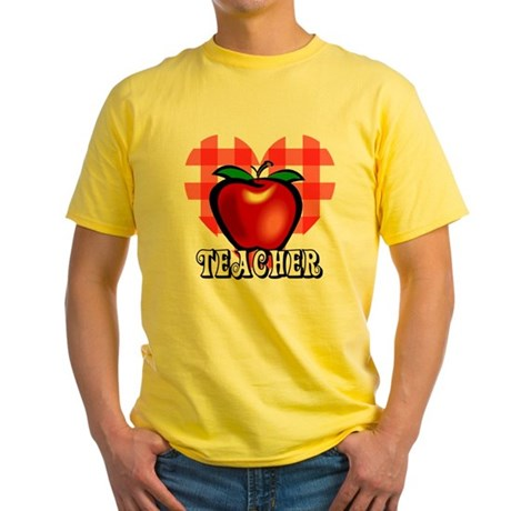 Teacher Checkered Heart Apple Yellow T-Shirt
