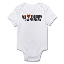 My Heart Belongs to a Fireman Infant Bodysuit