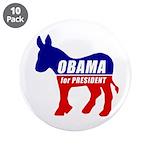 "Obama Democrat Donkey 3.5"" Button (10 pack)"