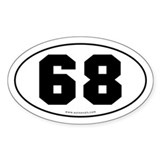 #68 Euro Bumper Oval Sticker -White