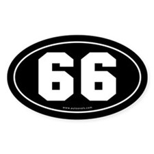 #66 Euro Bumper Oval Sticker -Black