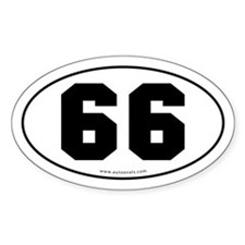 #66 Euro Bumper Oval Sticker -White