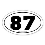 #87 Euro Bumper Oval Sticker -White