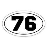 #76 Euro Bumper Oval Sticker -White