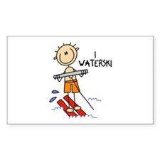 I Waterski Rectangle Sticker 10 pk)