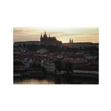 Prague Castle at Sunset Rectangle Magnet (10 pack)