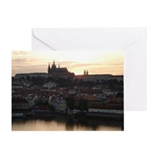Prague Castle at Sunset Greeting Card