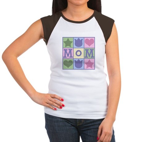 Fun Mom Quilt Squares Women's Cap Sleeve T-Shirt