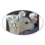 """Dog Thinking"" Oval Sticker (50 pk)"