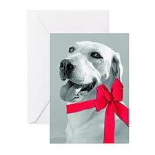 christmas dog bow Greeting Cards
