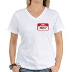 Doctor Name Tag Women's V-Neck T-Shirt
