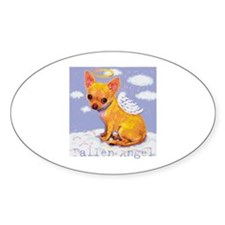 Fallen Angel - Chihuahua Oval Stickers
