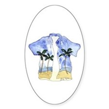 Hawaiian Shirt Oval Bumper Stickers