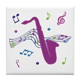 Saxophone Music Tile Coaster