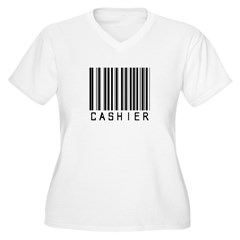 Cashier Barcode Women's Plus Size V-Neck T-Shirt