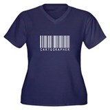 Cartographer Barcode Women's Plus Size V-Neck Dark